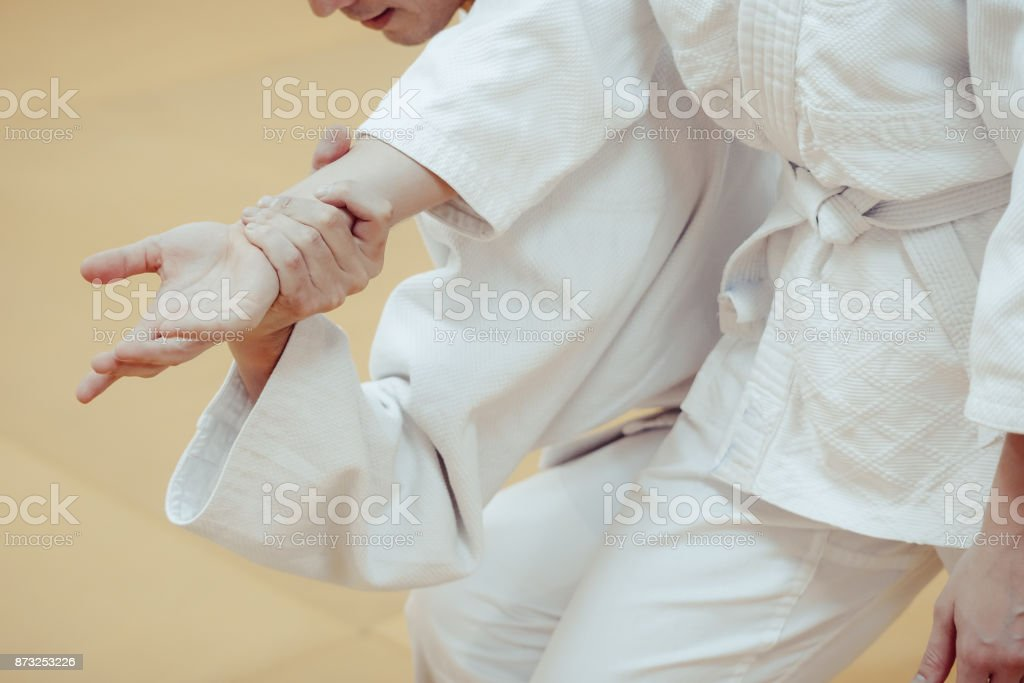 combat grip close-up stock photo