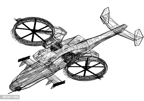 istock Combat Helicopter 3D blueprint - isolated 950841666