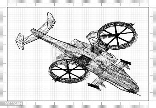 istock Combat Helicopter 3D blueprint 1059520854