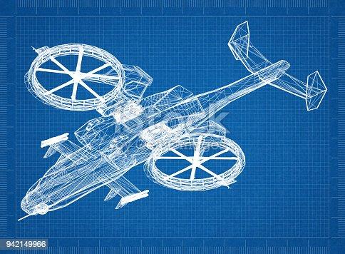 istock Combat Helicopter 3D blueprint 942149966