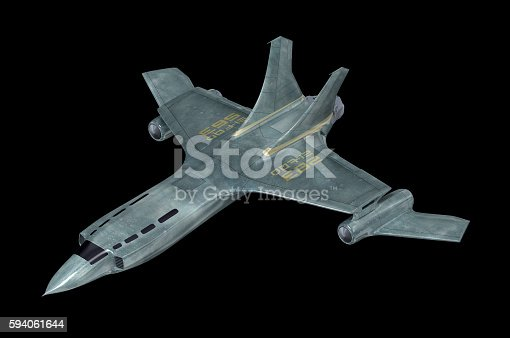 istock Combat spaceship. My own design. 3D illustration. 594061644