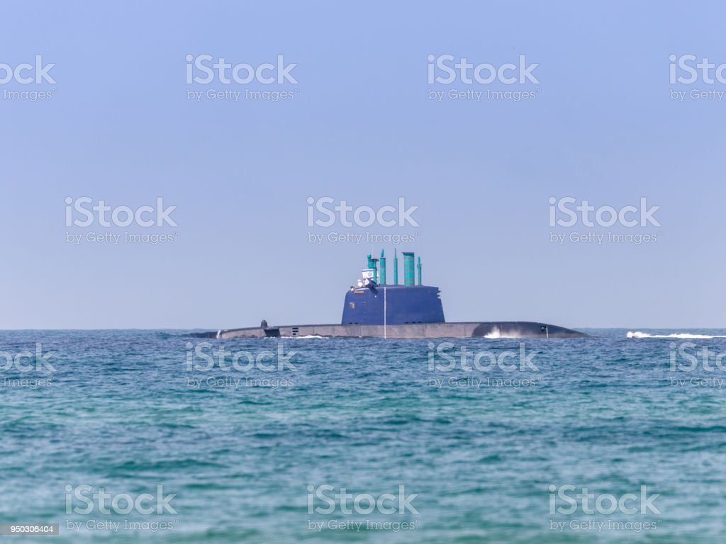 A combat  submarine is participating in a maritime parade off the coast of Haifa in honor of the 70th anniversary of the independence of the State of Israel stock photo