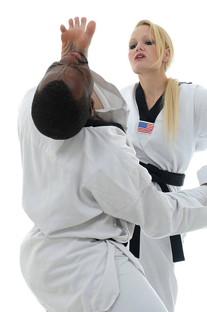 combative practice - karate stock photos and pictures