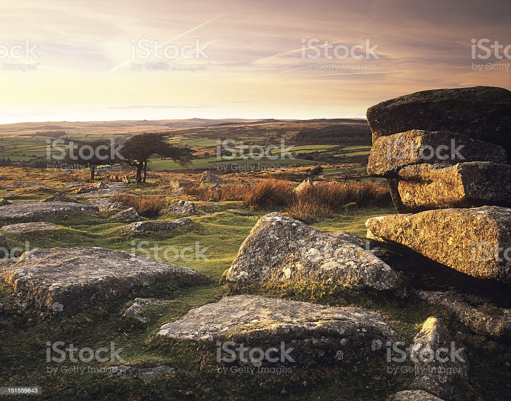 Combestone tor in evening light stock photo