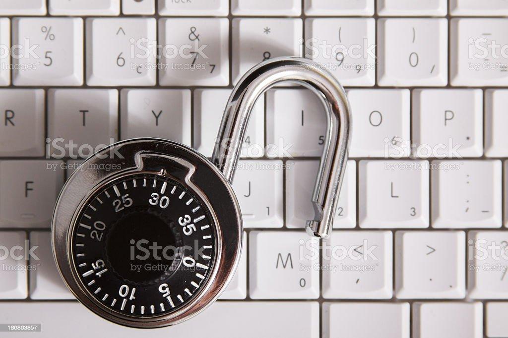 Combination Lock on Keyboard royalty-free stock photo