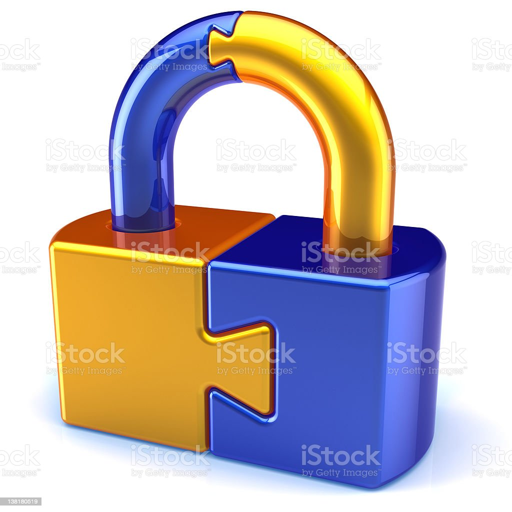 Combination lock padlock security puzzle password icon concept royalty-free stock photo