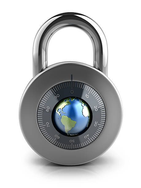 Combination Lock with globe dial stock photo