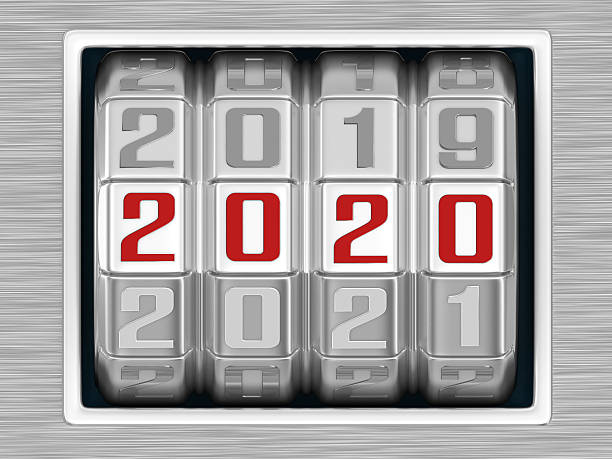 Combination Lock - Year 2020 stock photo