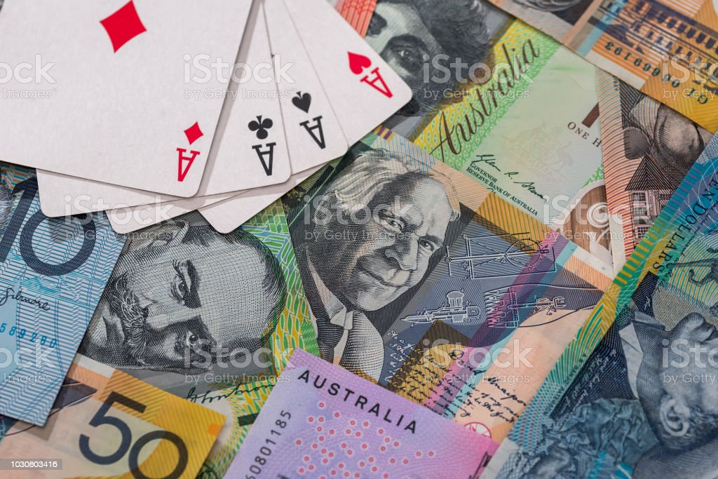 Combination of four aces on australian dollar banknotes stock photo