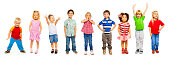 Combination of a number of divers looking little preschool children isolated on white standing