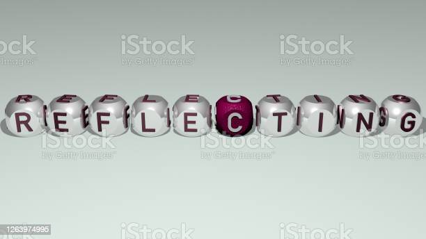 Photo of combination of reflecting built by cubic letters from the top perspective, excellent for the concept presentation. blue and water. 3D illustration