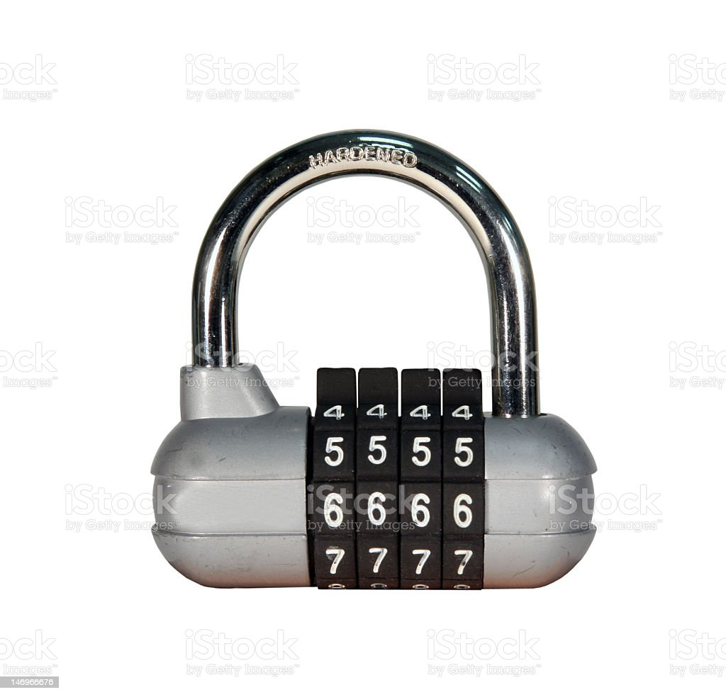 combination padlock isolated with path royalty-free stock photo