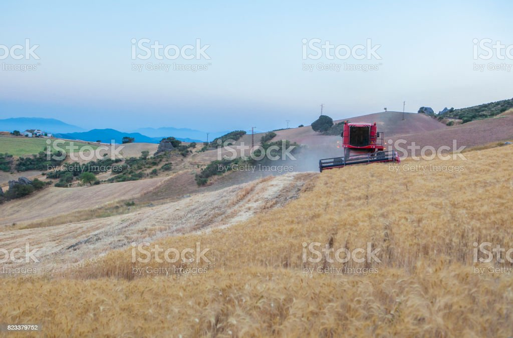 Combine harvester working on sloping ground, Spain stock photo
