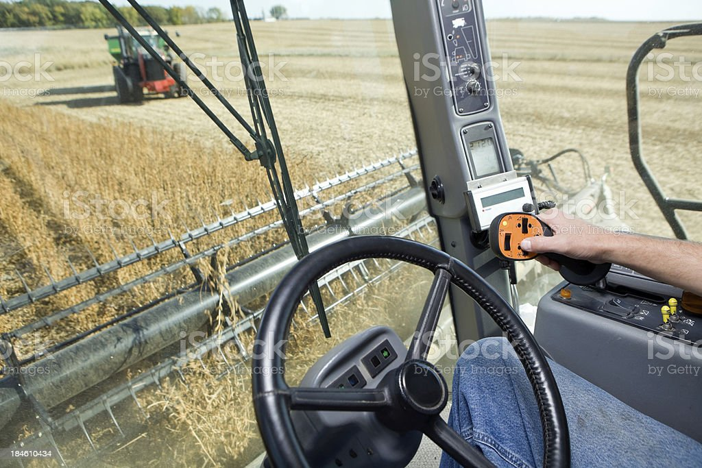 Combine Harvesting Soybeans from Operator's Cab stock photo