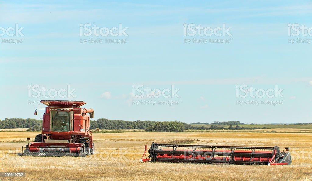 Combine In Field After Harvest in Saskatchewan Lizenzfreies stock-foto
