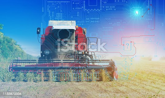 istock combine management, harvesting and weed control using artificial intelligence, background. Future technologies for agriculture 1133870334