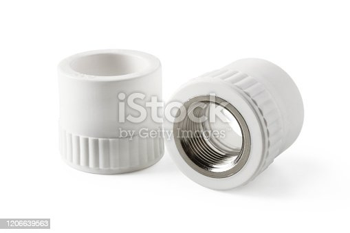 Combined couplings for connecting metal and polypropylene water pipes isolated on white