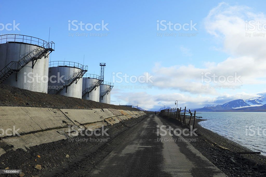 Combined heat and power station in Barentsburg, Spitsbergen (Sva royalty-free stock photo