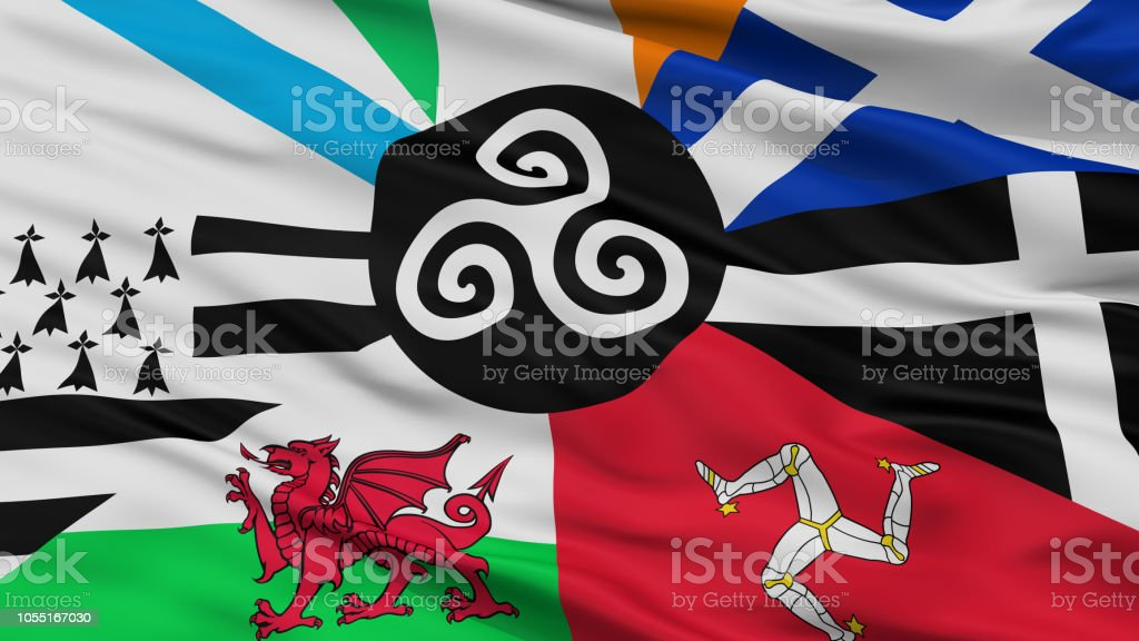 Combined Of The Celtic Nations Flag, Closeup View stock photo