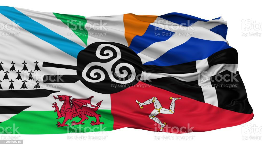 Combined Of The Celtic Nations Flag, Isolated On White stock photo