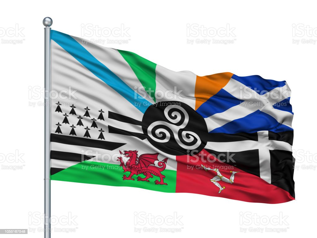 Combined Of The Celtic Nations Flag On Flagpole, Isolated On White stock photo