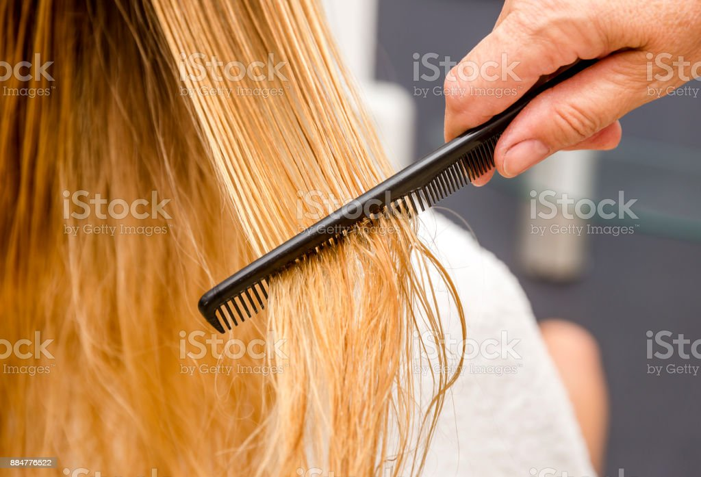 Combing woman's hair. stock photo