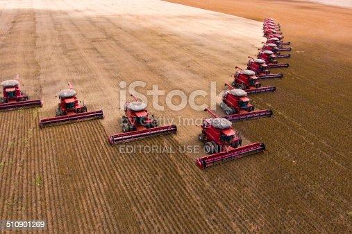 Campo Verde, Mato Grosso, Brazil - March 02, 2008: Mass soybean harvesting at a farm in Campo Verde, Mato Grosso