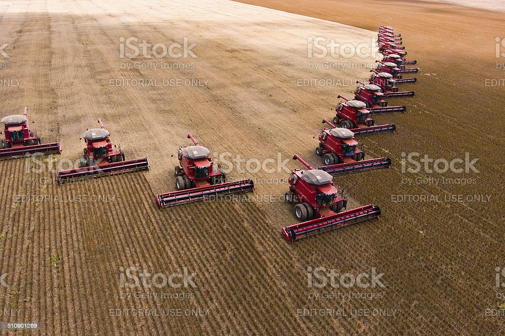 Combining Soybeans stock photo