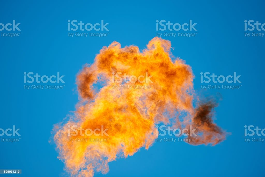 Combustion of associated petroleum gas stock photo