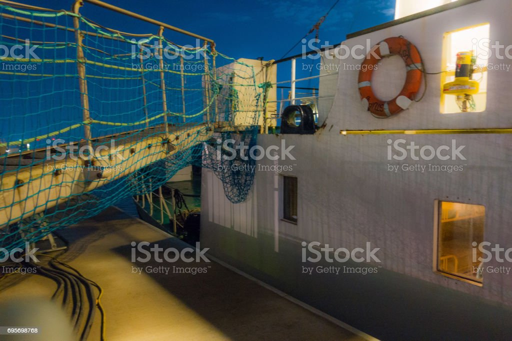 Come and enter the ship stock photo
