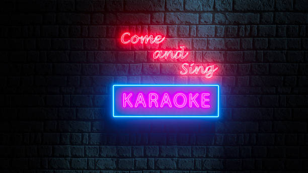 Come and Sing Karaoke neon sign on brick wall at night. 3d render stock photo