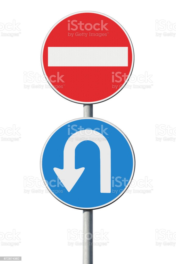 Come back - concept image with road sign stock photo