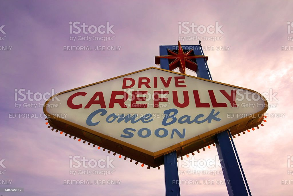 Come Back Soon Las Vegas Sign at Sunset stock photo