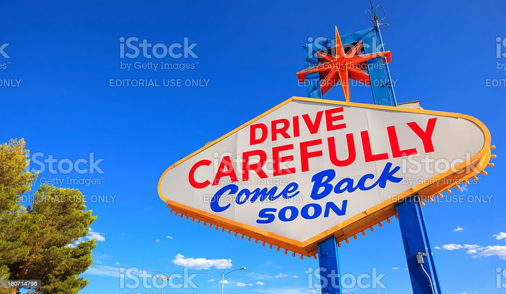 Come back soon Las Vegas sign stock photo