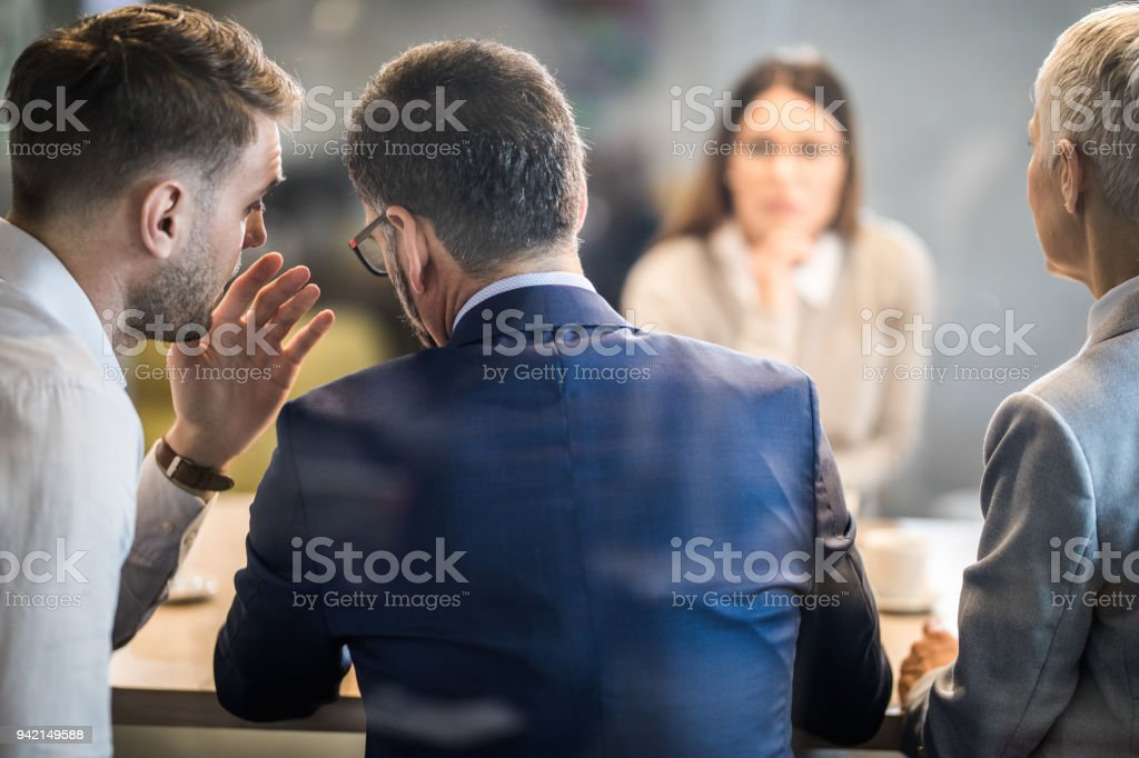 Come closer, what do you think about this candidate? stock photo