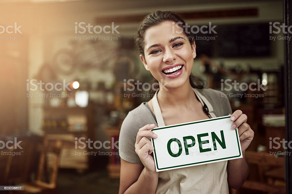 Come in. Always happy to have you here stock photo