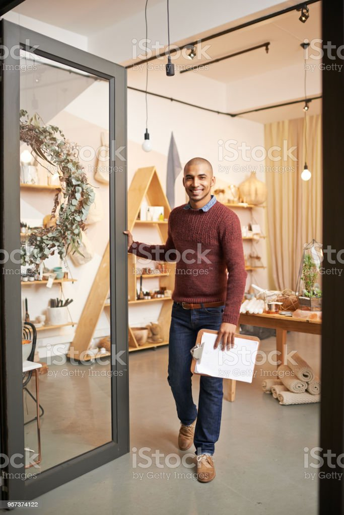 Come in, have a look around stock photo