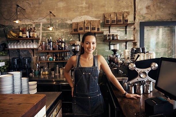 come in, make yourself at home - barista stock photos and pictures