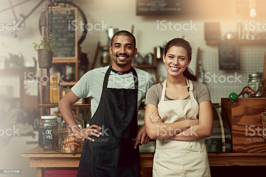 Come in, meet your barista team stock photo