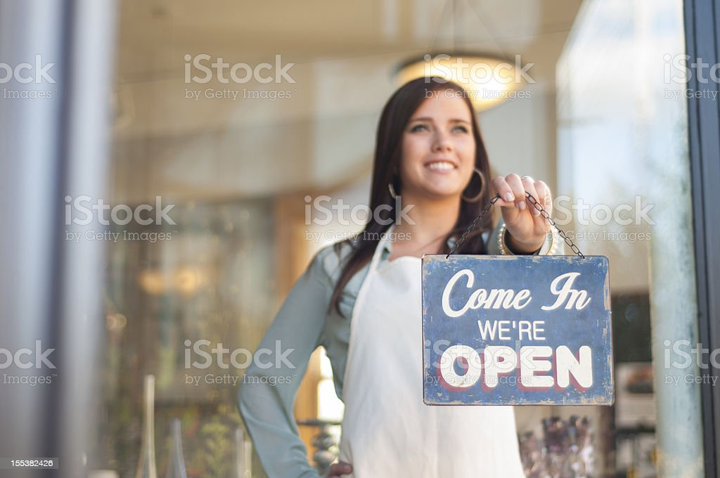 Come in, we're open stock photo