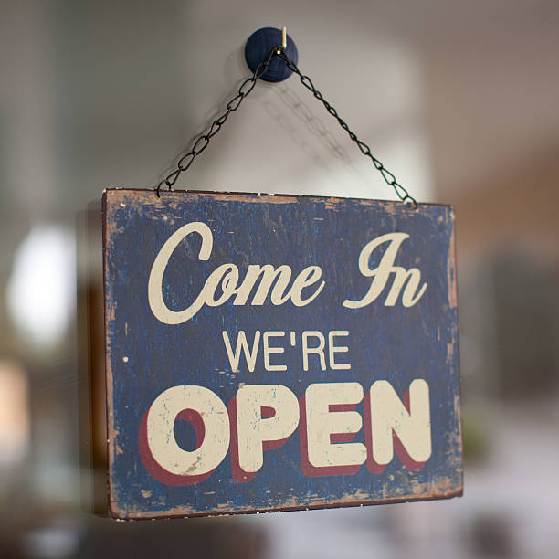 come in we're open Come in we're open shop sign. entering stock pictures, royalty-free photos & images