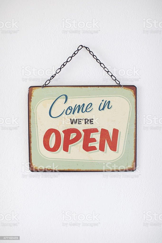 Come in we're open stock photo