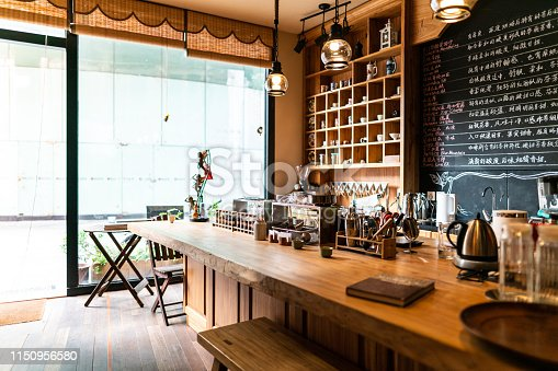 Interior of modern coffee shop in the morning, no people, Shanghai, China