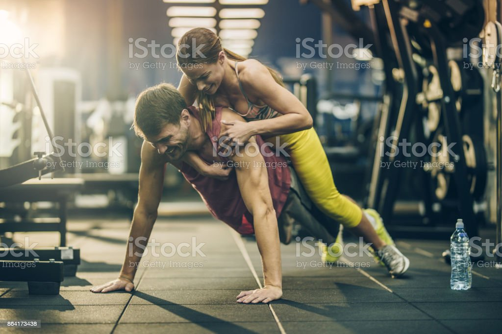 Come on honey, one more push-up! royalty-free stock photo