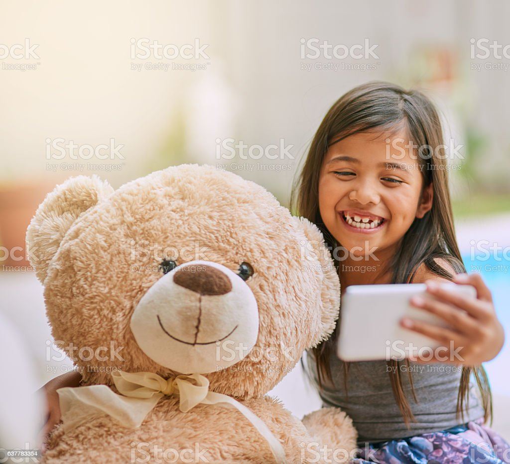 Come on teddy, say cheese! stock photo