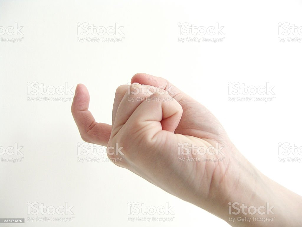 Come over here hand gesture stock photo