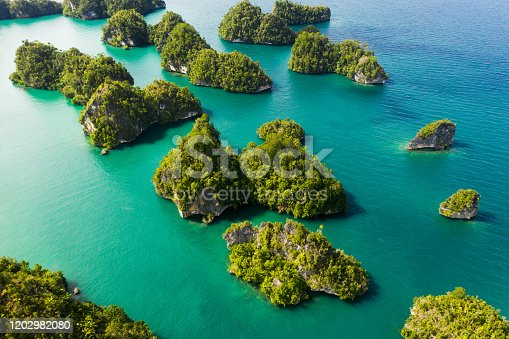High angle shot of beautiful green islands in the vast oceans of Indonesia