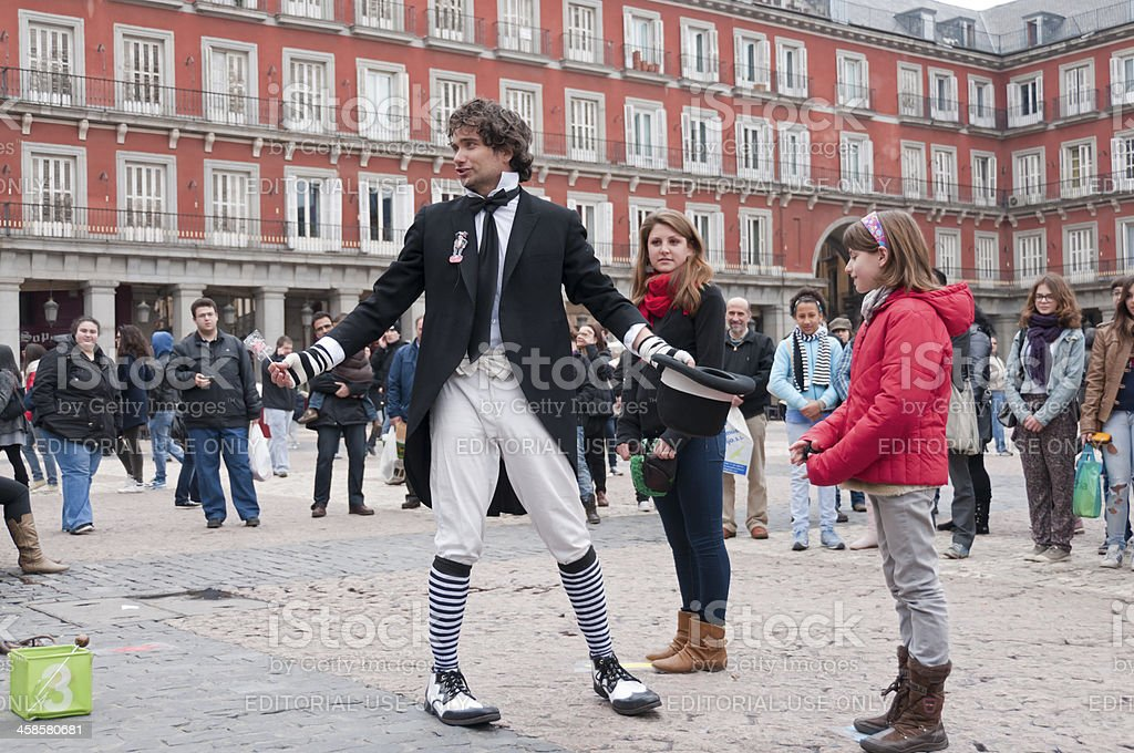 Comedian acting in Madrid downtown royalty-free stock photo