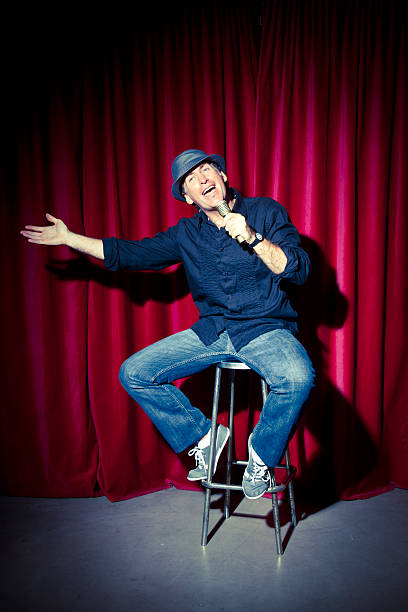 Comedian at stage stock photo