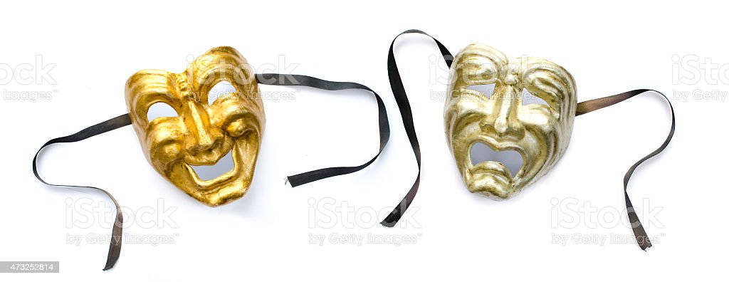 Comedy and Tragedy masks isolated on white background stock photo
